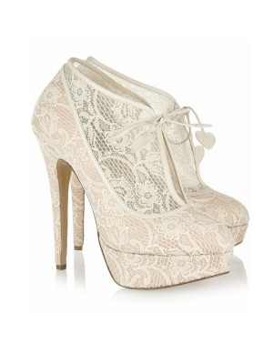 Blonder Stiletto Hæl Lukket Toe Platform Wedding Champagne Støvler