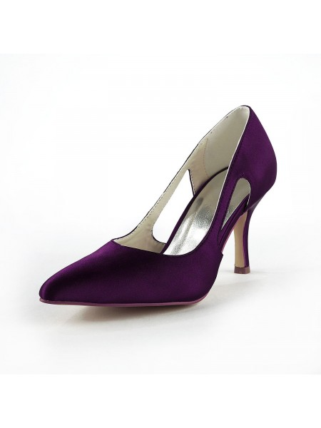 Satin Stiletto Hæl Lukket Toe Pumps Grape BryllOpp sko