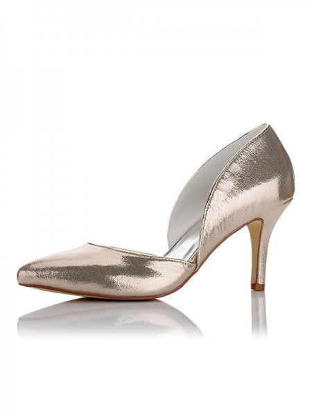 Satin PU Closed Toe Stiletto Hæl Bryllup Sko